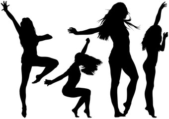 Silhouetted Dancing Young Woman in Various Poses - Set of Black Illustrations, Vector