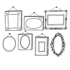Vintage sketch frames collection, hanging on the wall, isolated on white background. Vector illustration.