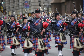 Bagpipers march along 5th avenue during the St. Patrick's Day parade in New York