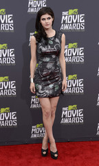 Actress Alexandra Daddario arrives at the 2013 MTV Movie Awards in Culver City, California