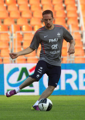 France's national team soccer player Ribery attends a training session in Minsk