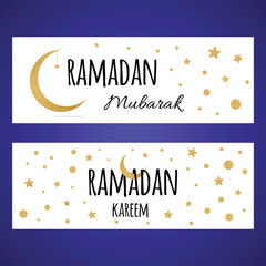 Two horizontal Ramadan banner set with golden crescent moon and star for Holy Month