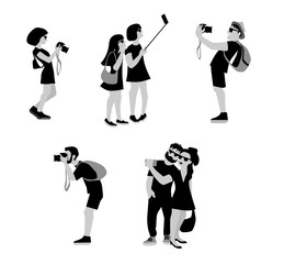 Vector Illustration of travellers taking a photo and selfie using camera and mobil. Flat illustration of young woman and man character by shooting.