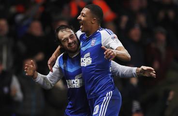Ipswich Town's Brett Pitmann celebrates scoring their second goal