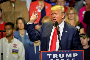 Republican Presidential nominee Donald Trump addresses supporters during a campaign rally for Republican Presidential Donald Trump in Cincinnati