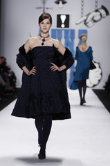 A model presents a creation from the Anna Sui Fall/Winter 2012 collection during New York Fashion Week