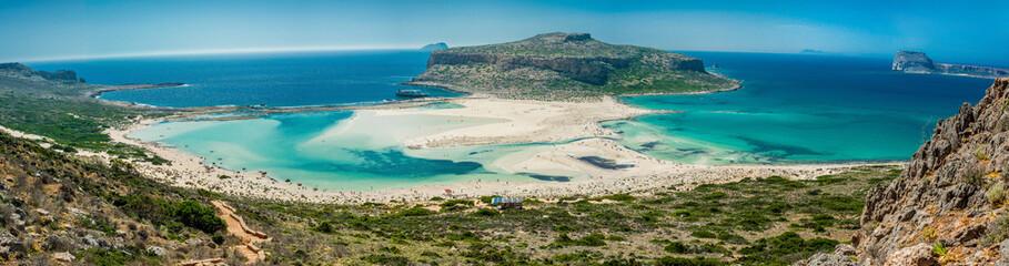 Obraz Greece, Crete Balos beach. Panorama from the hill high point - fototapety do salonu