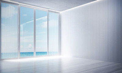 The interior design of empty white room and living room area and sea view