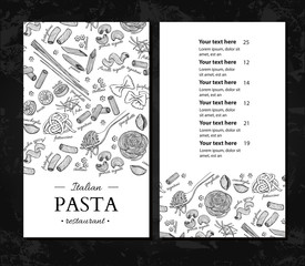 Italian pasta restaurant vector menu. Hand drawn engraved banner. Great for banner, flyer, card,