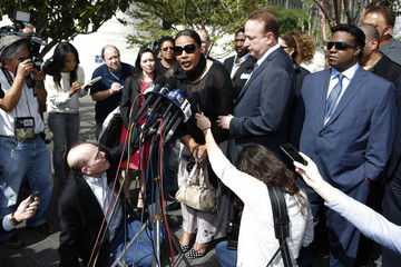 Marvin Gaye's daughter, Nona Gaye, speaks to media outside the federal court in Los Angeles