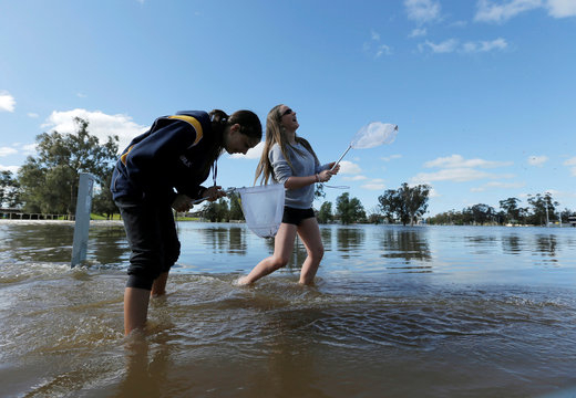 Local residents Nadia Hartwig and Jessica Todd fish with nets in the overflowing Forbes Lake after heavy rain created a declared natural disaster zone in the midwestern New South Wales town of Forbes, Australia