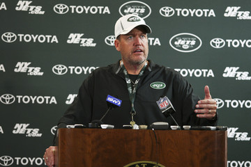 Jets head coach Rex Ryan speaks to the media during news conference after Jets training camp practice in Cortland, New York