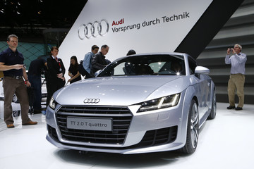 Audi TT 2.0 T quattro car is pictured during the media day ahead of the 84th Geneva Motor Show at the Palexpo Arena in Geneva