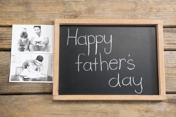 High angle view of slate with happy fathers day text