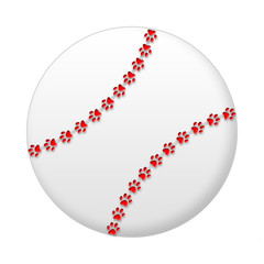 White Baseball/Softball with Paw Stitching