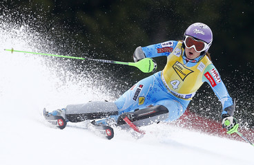 Maze of Slovenia clears a gate during the women's Alpine Skiing World Cup slalom race in Ofterschwang