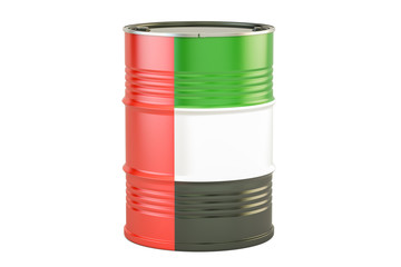 Oil barrel with flag of UAE. Oil production and trade concept, 3D rendering