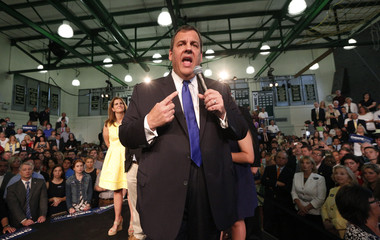 Republican U.S. presidential candidate and New Jersey Governor Chris Christie formally announces his campaign for the 2016 Republican presidential nomination as his wife Mary Pat looks on during a kickoff rally in Livingston