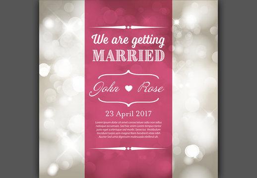 Bokeh Background Wedding Invitation Layout
