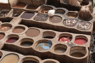 The famous Chouara Tannery in the medina of Fez. The leather tannery dates back to the 11th century AD. The medina is the oldest walled part of Fez.