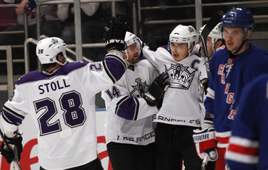 Kings Brown celebrates goal against Rangers in first period during  NHL hockey game in New York