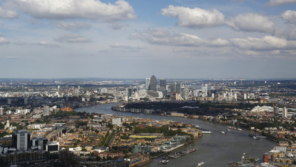 Canary Wharf is seen from the 69th floor of the Shard during its inauguration in London