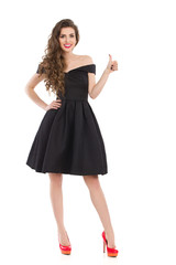Elegant Young Woman In Black Dress Gives Like