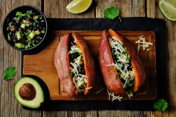 Avocado black bean cilantro stuffed sweet potato