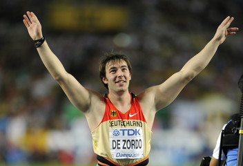 De Zordo gestures after winning the men's javelin throw final at the IAAF World Athletics Championships in Daegu