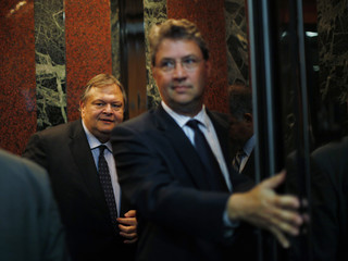 Evangelos Venizelos is pictured in an elevator on his way at the Institute of International Finance meeting in Washington