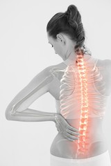 Digitally generated image of woman suffering from muscle pain