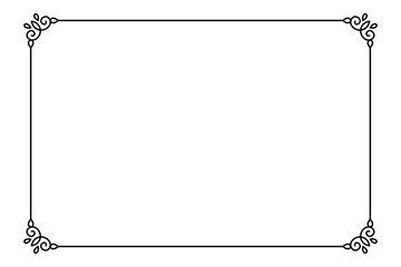 Obraz Ornamental decorative page frame. Vector Line style border template - fototapety do salonu