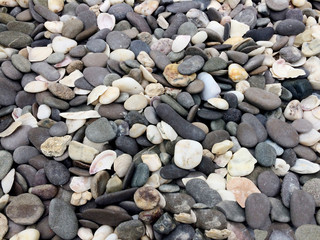 texture, stone, rock, material, pebble, pattern, mineral, nature, ground, shape, decoration, background, smooth, wallpaper, outdoor, geology, natural, textured, sand, cobblestone, river, pile, small,