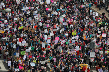 The Women's March on Washington fills Pennsylvania Avenue, following the inauguration of U.S. President Donald Trump, in Washington