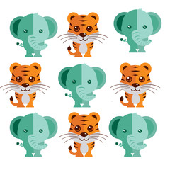 an icon set of tiger and elephant illustration on a plain background