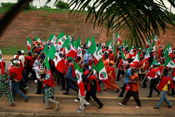 NLC protestors march during an anti-fuel price hike rally in Abuja
