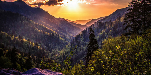 Great Smoky Mountain Sunset Landscape Panorama. Sunset horizon over the Great Smoky Mountains from Morton overlook on the Newfound Gap Road in Gatlinburg, Tennessee.