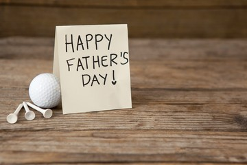 Happy fathers day message with sports equipments