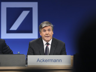 Josef Ackermann, CEO of Germany's largest business bank Deutsche Bank AG addresses the media during the bank's annual news conference in Frankfurt