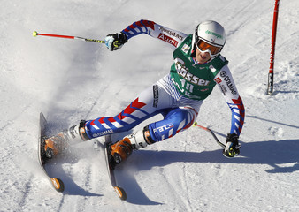 Barioz of France clears a gate during the first run of the women's giant slalom World Cup race in Lienz