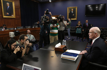 U.S. Secret Service Director Clancy prepares to testify at the House Appropriations Homeland Security Subcommittee hearing on the Secret Service budget on Capitol Hill in Washington