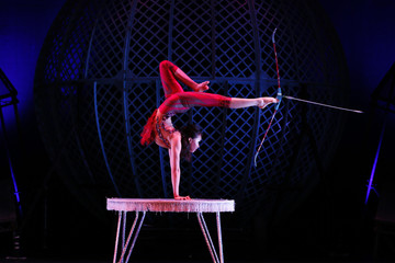 Odka performs in during a media preview of Zippos Cirque Berserk at the Peacock Theatre in London