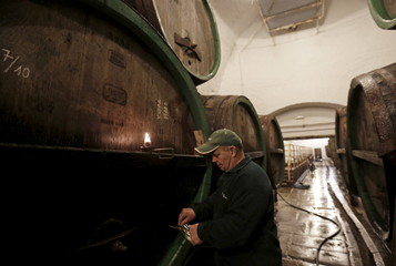 A cellarman drafts a glass of unpasteurized beer at Plzensky Prazdroj (Pilsner Urquell) brewery in Plzen