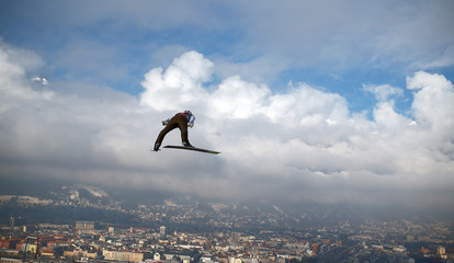 Freund of Germany soars through the air during a trial jump for the third jumping of the 64th four-hills ski jumping tournament in Innsbruck