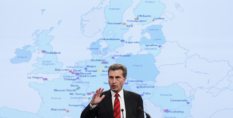 EU Energy Commissioner Oettinger addresses a news conference at the EU Commission headquarters in Brussels