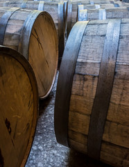 Fototapete - Old Bourbon Barrels Laying on Their Sides