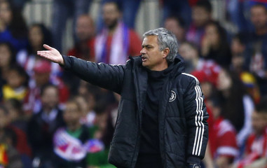 Chelsea's coach Mourinho reacts during his team's Champions League semi-final first leg soccer match against Atletico Madrid at Vicente Celderon Stadium in Madrid