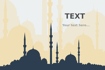 Editable Mosque Silhouette for Text Background