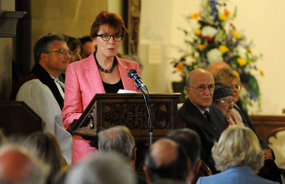 Celia Sandys, granddaughter of Sir Winston Churchill, gives a reading, before the unveiling of a stain glassed window to commemorate the 50th Anniversary of Sir Winston Churchill's death, at St Martin's Church, Bladon
