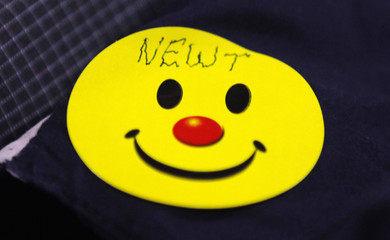 A supporter wears a smiley face sticker with the name of Republican presidential candidate and former Speaker of the House Newt Gingrich written on it during a campaign appearance at the Palmetto Senior Show in Columbia